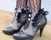 Selene- Herringbone spats w/ ruffle details