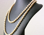 Vintage Extra Long Glass Pearl Necklace