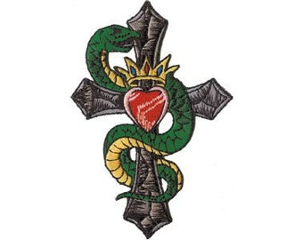 Snake Cross and Crown Tattoo Art Patch