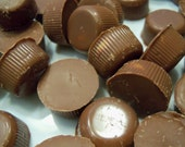 Mini peanut butter cups made in your choice of milk chocolate dark chocolate or pick both
