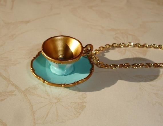 Alice in Wonderland Tea cup Necklace III - Miniature tea cup necklace Ltd. Ed.