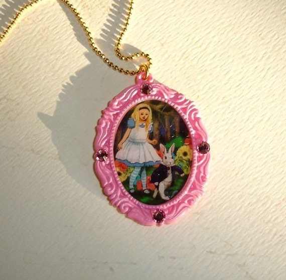 Alice in Wonderland Pink Cameo Necklace - Lost in Wonderland