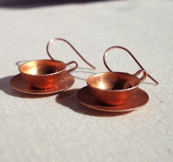 Vintage Modern Copper Teacup Earrings