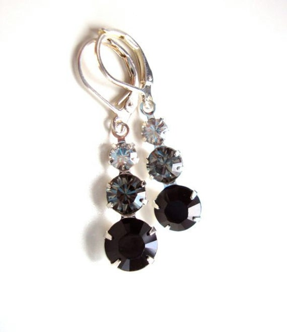 Black and White Crystal Earrings - Weddings - Bridesmaid Jewelry - Swarovski Crystal