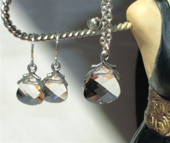 Bridesmaid Jewelry Set - Swarovski Clear Crystal Flat Briolette Set - Bridal Jewelry - Wedding Jewelry