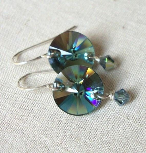 Erinite Crystal Rivoli Earrings - Erinite Rivoli Earring - Dangle Earrings - Teal