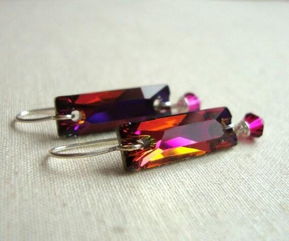 Crystal Volcano Baguette Earrings - Magenta - Hot Pink