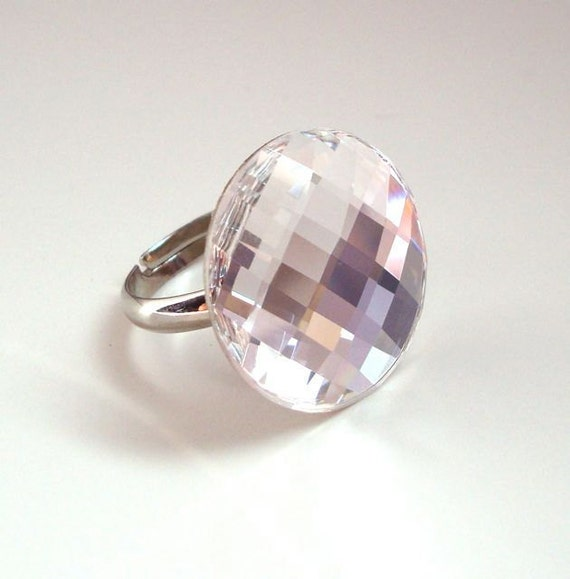 Crystal Cocktail Ring-  Swarovski Crystal Chessboard Ring
