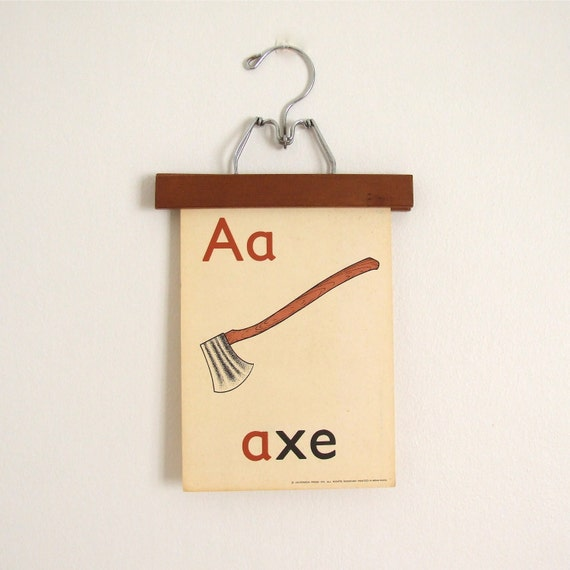 vintage FLASH card large - letter A - 1970s - alphabet card