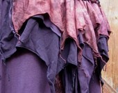 Red Earth Faery Nymph Goddess...  Hand-dyed Purple Cotton Hybrid Skirt with matching Pixie Bustle...one-of-a-kind... MED-LGE 12-20au 8-14us