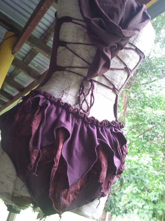 Cacao Brown Organic Cotton Backless Hoodie Top with Red Earth Silk & Purple Bustle OOAK