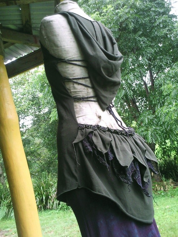 """Forest Green Organic Cotton Backless Hoodie Top/Mini Dress with ''Love"""" Sparkle  Bustle OOAK"""
