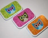 BRIGHT LITTLE OWLS-Three Exlusive Designer Gift Tins-Lime Green, Hot Fuschia, and Bright Orange (Empty Gift Tin/Altered Tin)