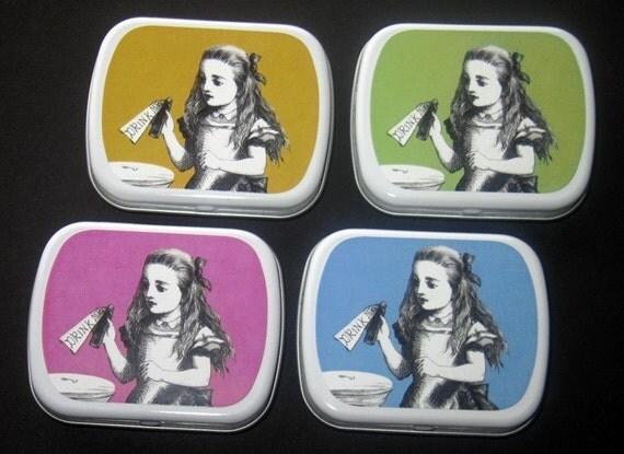 ALICE DRINK ME Palm Mini Tin- You Choose Color  (Altered Tin/Gift Tin/Pill Box/Favor Box)