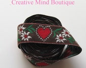 "Brown Hearts Flowers Ribbon Woven Jacquard Cotton Wholesale Destash 1 1/2"""