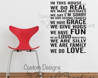 Wall Decal - Family Rules - customizable 053-22.5""