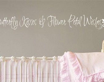Butterfly Kisses Flower Petal Wishes wall decal 066