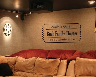Wall Decal - home theater movie ticket
