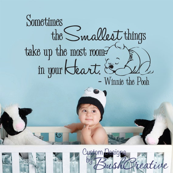 Winnie The Pooh Quotes Sometimes The Smallest Things: Wall Decal Winnie The Pooh Nursery Wall Words By Bushcreative