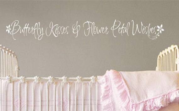 Wall Decal Baby Girl Nursery Butterfly Kisses Flower Petal