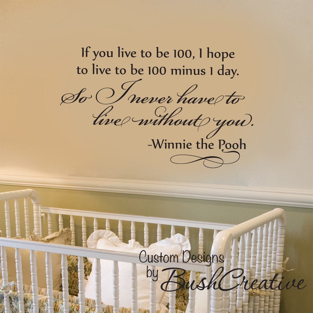 Winnie the pooh wall decal nursery love bedroom by for Classic pooh nursery mural