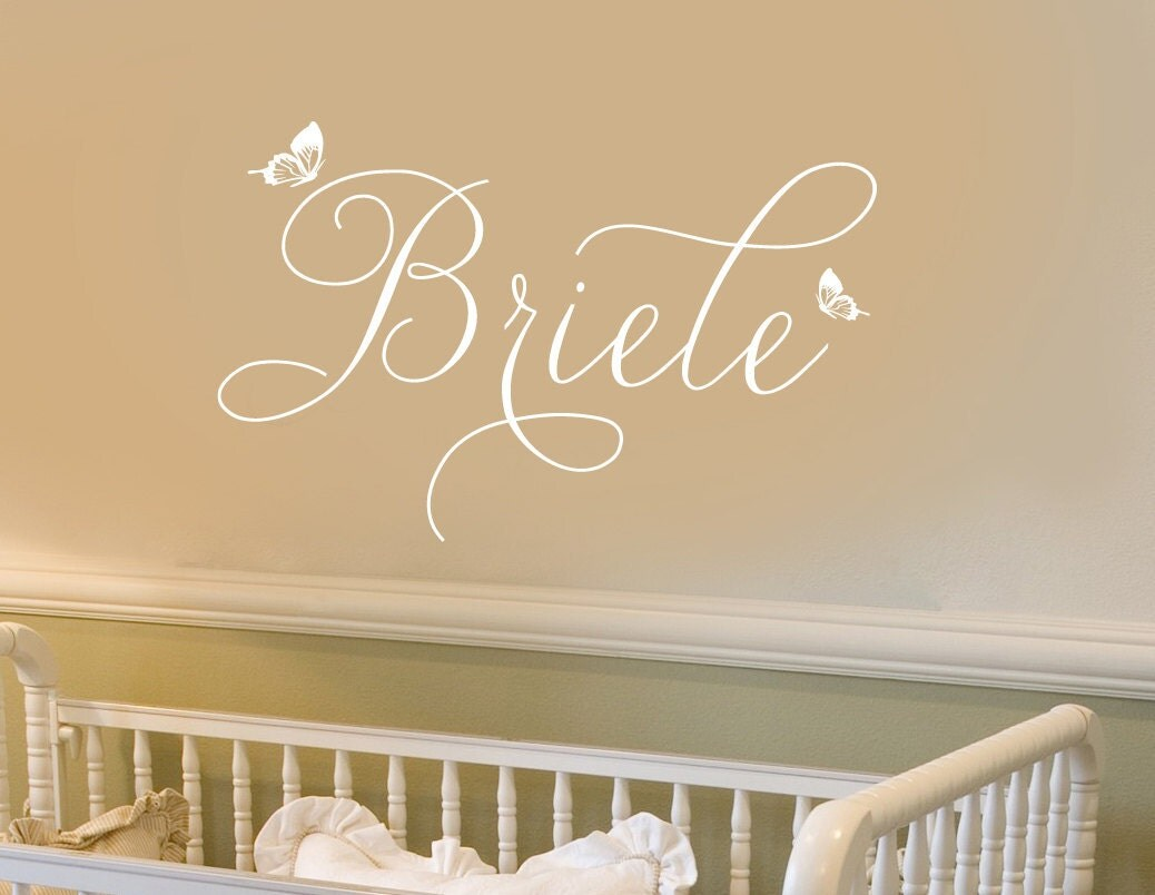 wall decal personalized little girls name whimsical. Black Bedroom Furniture Sets. Home Design Ideas