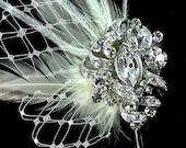Feather Headpiece, Bridal Headpiece, Crystal Hair Pin, Fleur De Lis Feather Fascinator, Swarovski Hair Comb, Bridal Hair Jewelry, VICKY
