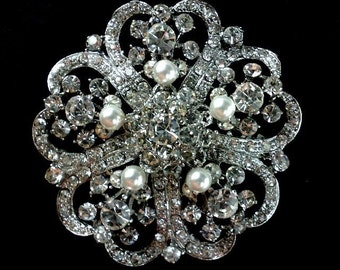 Pearl Bridal Broach, Rhinestone Crystal Bridesmaids Brooch, Wedding Party Jewelry, ROMANTIC