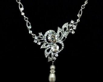 Butterfly Bridal Necklace, Bohemian Wedding Necklace, Pearl Drop Necklace, Swarovski Crystal Wedding Jewelry, Silver Bridal Jewelry, ULYSSES