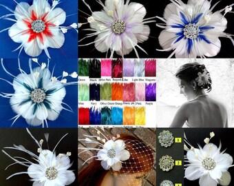 Bridal Fascinator, Feather Hair Clip, Flower Wedding Fascinator, Bridal Headpiece, Wedding Headpiece, Feather Fascinator, ART NIRVANI