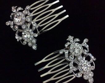 Vintage Style Bridal Hair Combs, Bridal Hair Jewelry, Swarovski Crystal Wedding Hair Combs, Victorian Wedding Headpieces, ARMANIA 2
