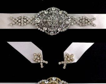 Gatsby Wedding Sash, Statement Bridal Belt, Art Deco Bridal Sash, Crystal Wedding Belt, Bridal Dress Jewelry, Gold or Silver Sash, COUNTESS