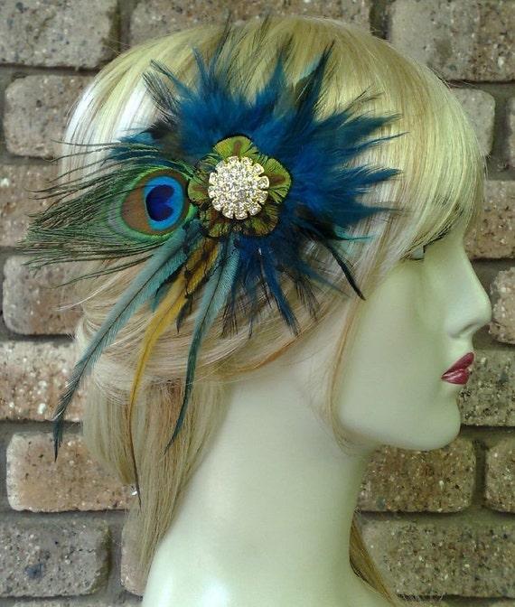 Peacock Wedding Fascinator, Something Blue Bridal Headpiece, Teal Blue Feather Hair Clip, Bridal Fascinator, Boho Feather Headpiece, ALEXIA