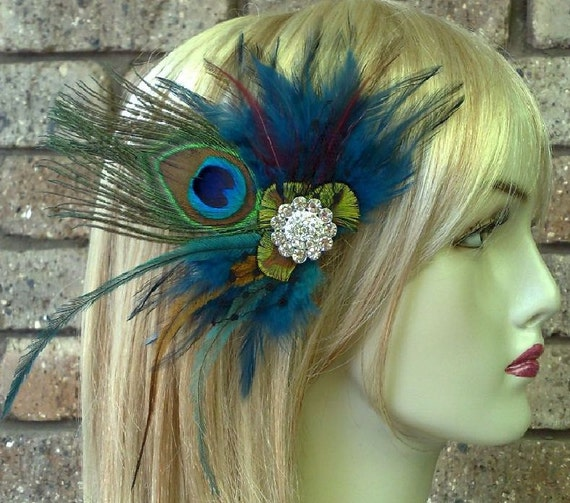 Peacock Headpiece For Wedding: Peacock Wedding Fascinator, Boho Feather Headpiece