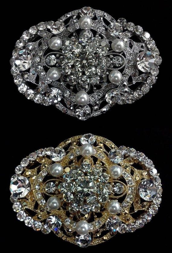 Pearl Bridal Broach, Art Deco Wedding Brooch, Bustier Pin, Bridal Dress Jewelry, Swarovski Crystal Wedding Jewelry, COURTNEY