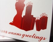 Holiday FLIRTY Collection - Set of 10 Greeting Cards in Red / White 'Flirty Gifts'