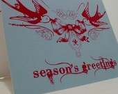 Holiday INKED Collection - Set of 5 Sparrow 'Season's Greetings' Greeting Card (Cyan/Mag)