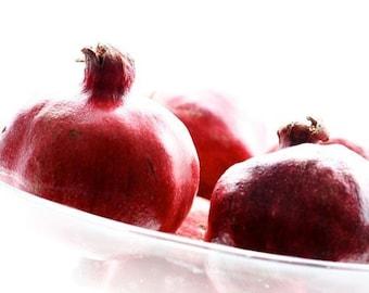 Pomegranates in a glass bowl, Fine art photograph, print 8x8