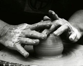 Magic of creation - potter's wheel, Fine art photograph, print 8x8