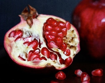 Pomegranate, cut open (single holiday card, photo art print and envelope)