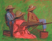 Woman Fishing, African American Women, Painting Tutorial, Wall Art, Digital Print,