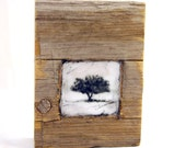Hiding places - The Apple Tree - original encaustic mixed media carved in reclaimed barn wood