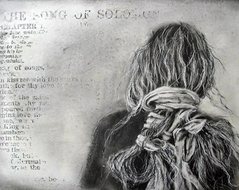 Song of Solomon - limited edition fine art  print from Original Drawing on wood