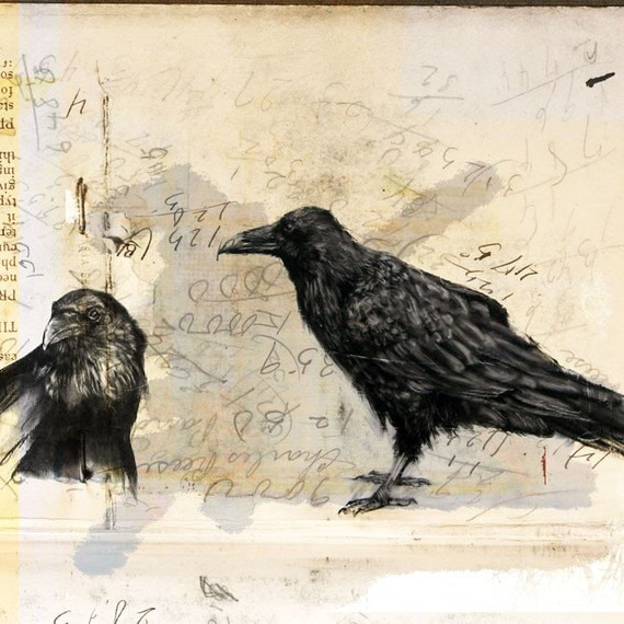 """Notes on Crows - 8""""x8"""" print of mixed media artwork"""