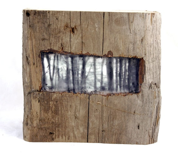 Hiding places - The Forest  - original encaustic mixed media carved in reclaimed barn wood