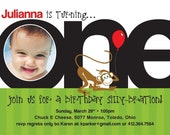 1st Birthday Invite - Pick your Graphic (Creature, Cake or Sport) and Color. Option to Print.
