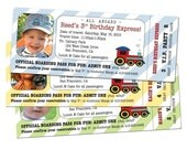 15 Train TICKET Party Invitations. Customized and Printed for You.