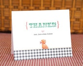 Gingham Teddy Bear - Personalized Thank You Cards w/Envelopes. Set of 12.