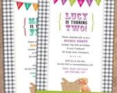 Child's Gingham Picnic Birthday Party Invitation. Option to Print