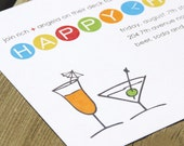 HAPPY HOUR - Party Invitation. Set of 15 with envelopes.